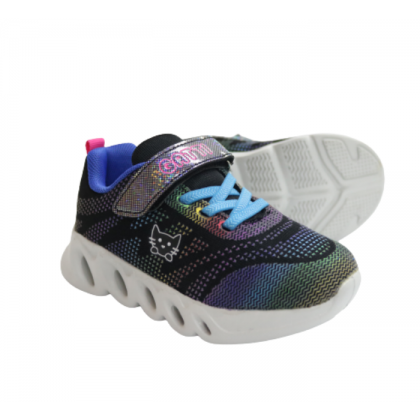 Gatti Junior Kids Walking Shoe with Flashing Light MIZULIA Black 208323-01